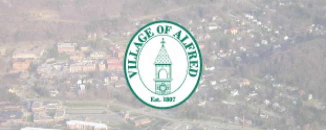 Alfred logo over aerial photo of village